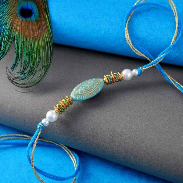 Dazzling Blue Rakhi Lumba Set
