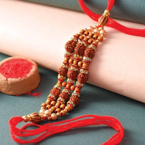 Rudraksha & Beads Studded Rakhi