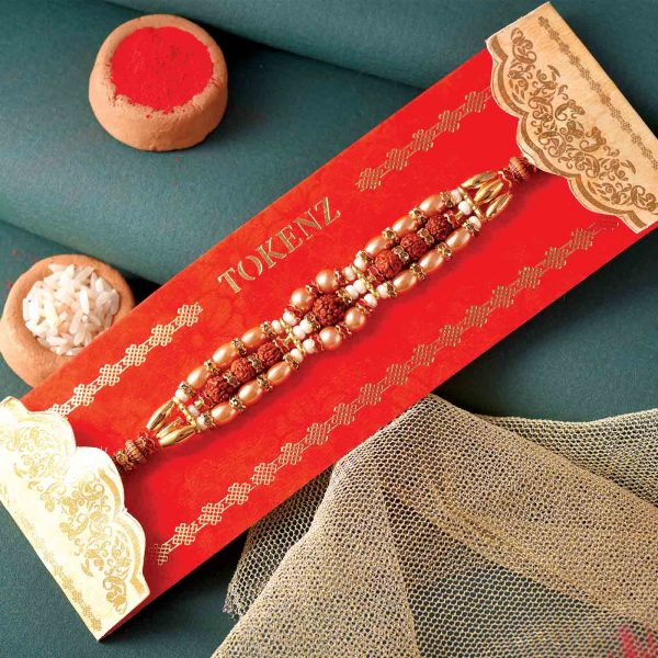 Rudraksha Rakhi With Glossy Pearls