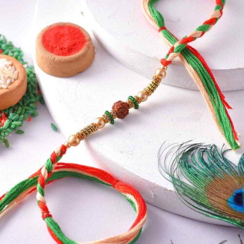 Rudraksha Rakhi With A Multi-Toned Thread