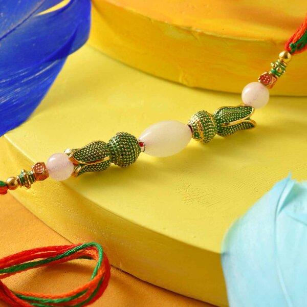 Green & White Beads Rakhi