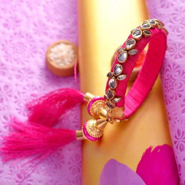Hot Pink Kundan Kada Lumba Rakhi Set