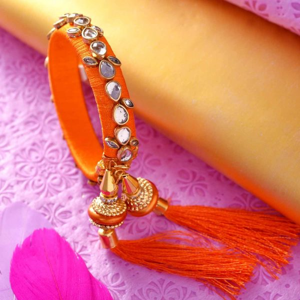 Orange Kundan Kada Lumba with Rakhi