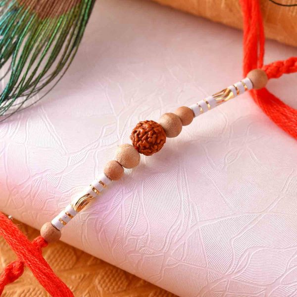 Rudraksha Rakhi With White Beads