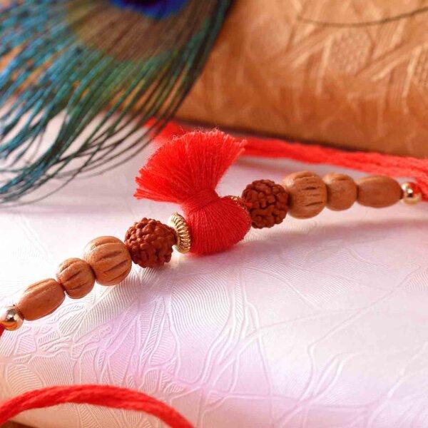 Rudraksha Rakhi With Brown Pearls