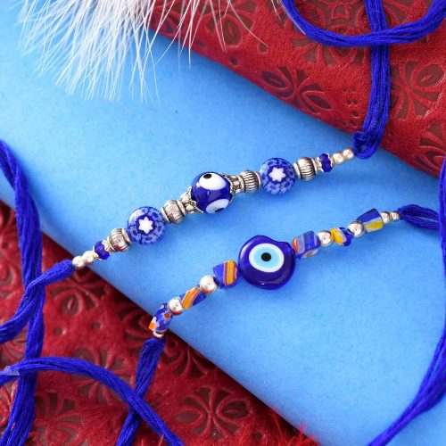 Set Of 2 Blue Evil-Eye Rakhis