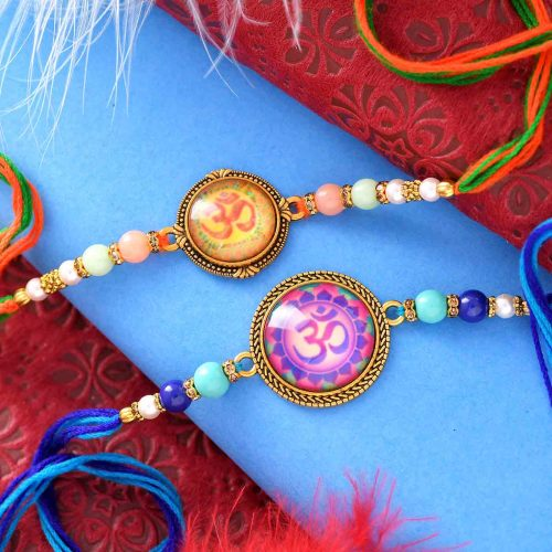 Set Of 2 OM Rakhis With Colorful Pearls