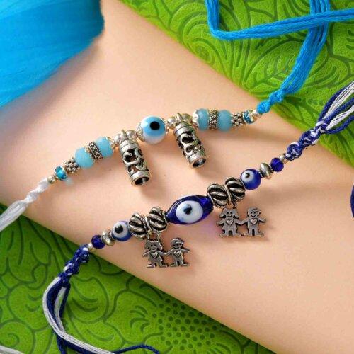 Set of 2 Designer Rakhis With Multi-Toned Thread