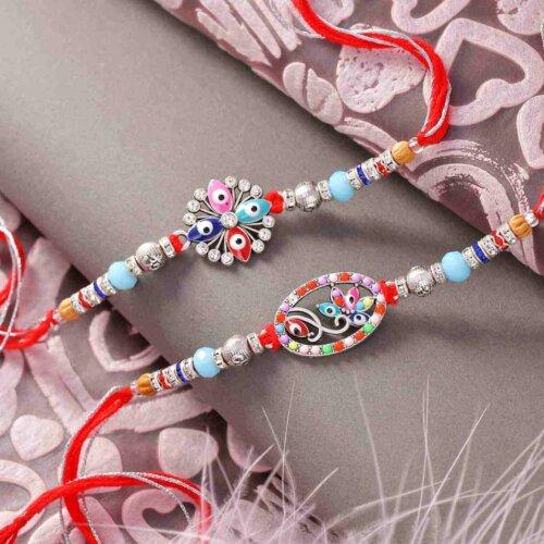 Set of 2 Colorful Beads Rakhis