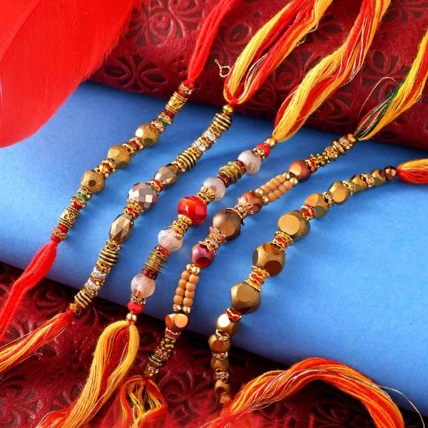 Set Of Multi-Color Pearls Rakhis With Multi-Toned Thread