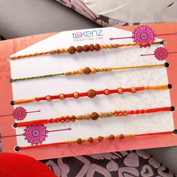 Set Of 5 Rudraksha Rakhis With Yellow Pearls