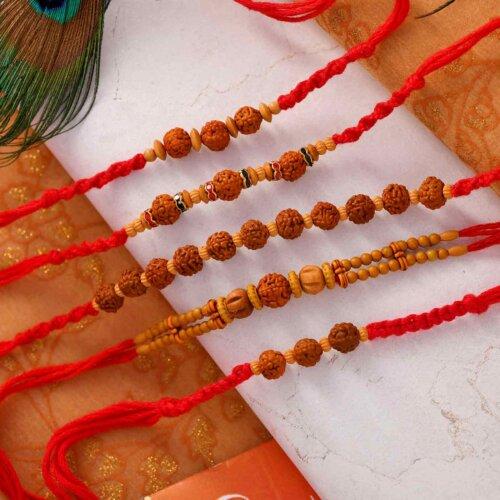 Set Of 5 Rudraksha Rakhis