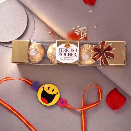 Happy Face Kids Rakhi with 3 pcs. Ferrero Rocher
