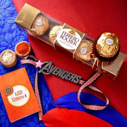 Mighty Avengers Rakhi with 3 pcs. Ferrero Rocher chocolate combo