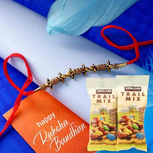 Antique Rakhi with 144gms. Trail Mix Combo