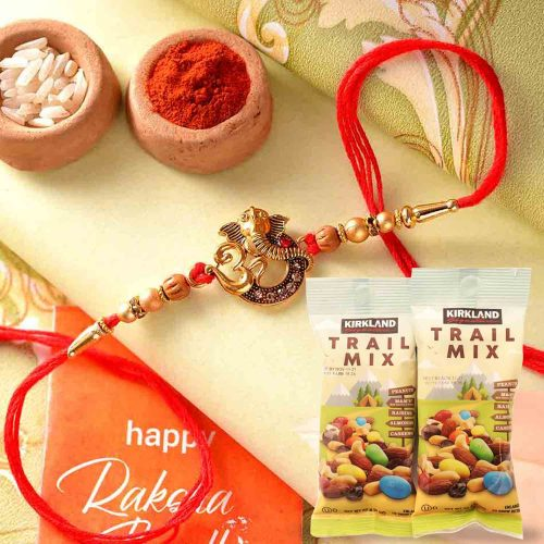 Ganesha Rakhi with 144gms  Trail Mix Combo
