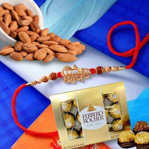 Shiva Rakhi with Natural Almonds 113 Gms and 12 pcs. Ferrero Rocher