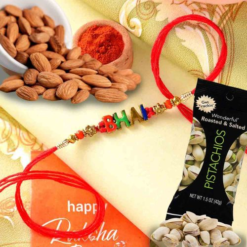 Bhai Rakhi with Natural Almonds 113 Gms and Wonderful Pistachio  84 Gms