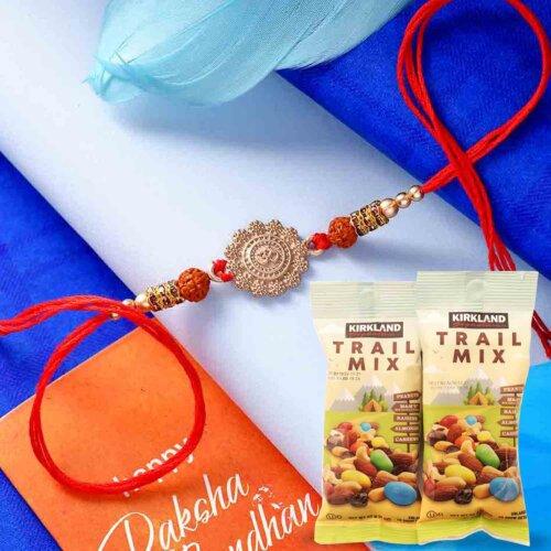 OM Rudraksha Rakhi with 144gms Trail Mix Combo