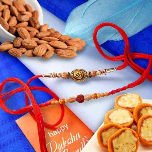 Auspicious Set of 2 rakhi with Almonds 113 Gm. and JayBharat Pure Kaju Sweet Orange dryFruit Cassata 450 Gms  combo