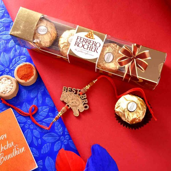 Winnie the Pooh Best Bro Kids Rakhi with Ferrero Rocher