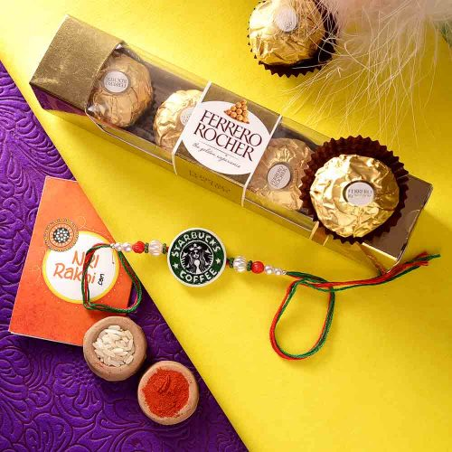 Star Bucks Rakhi with Ferrero Rocher