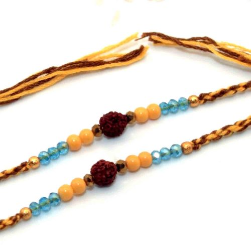 Rudraksha Rakhi With Blue & Yellow Beads - Pack of 2