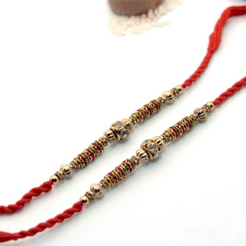Designer Rakhi With Silver & Golden Work - Pack of 2