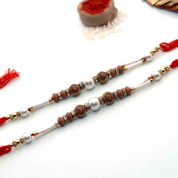 OM Rakhi With Silver Pearls - Pack of 2