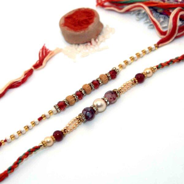 Combo of Red Gemstone Rakhi & Red Pearl Rakhi