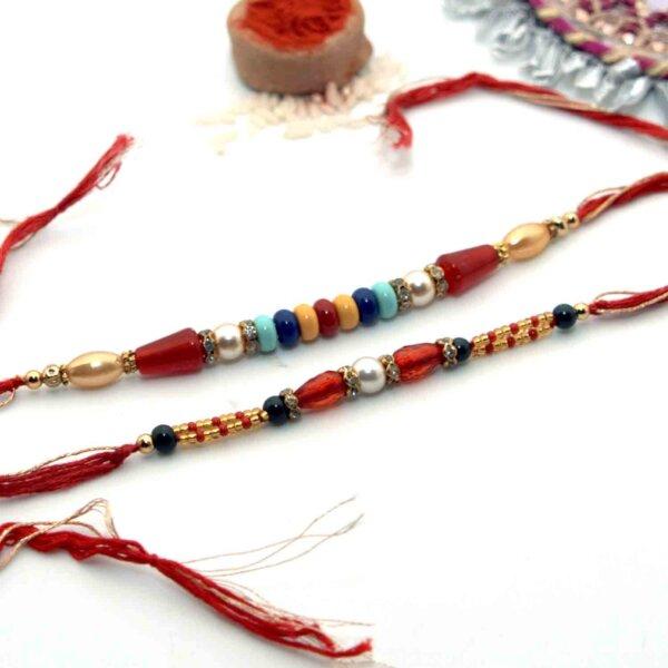 Pack of Colorful Flat Round Beads Rakhi & Silver Pearl Rakhi