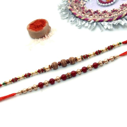 Pack of Golden Pearls Rakhi & Red Pearls Rakhi