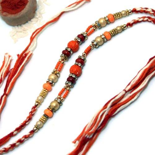 Designer Multi-Toned Thread Rakhi - Pack of 2