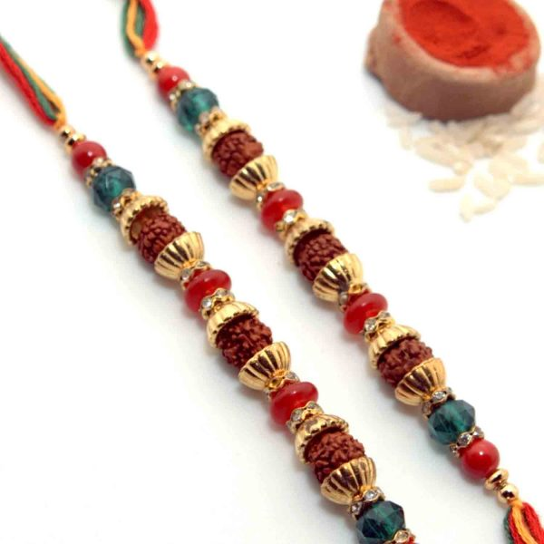 Rudraksha-Studded Rakhi With Multi-Toned Thread - Pack of 2