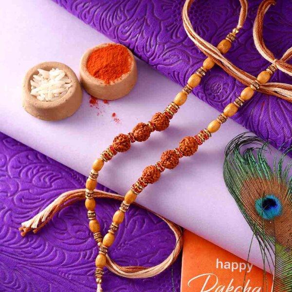 3 Rudraksha Seeds Rakhi - Pack of 2