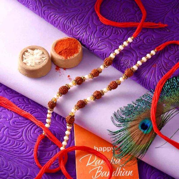 3 Rudraksha Seeds Rakhi With Small Golden Beads - Pack of 2