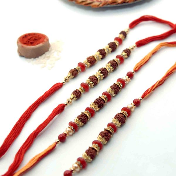 4 Rudraksha Seeds Rakhi - Pack of 2