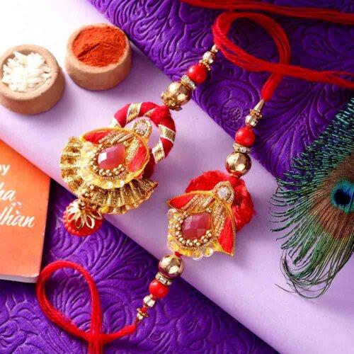 Combo of Designer Maroon-Theme Bhai-Bhabhi Rakhi