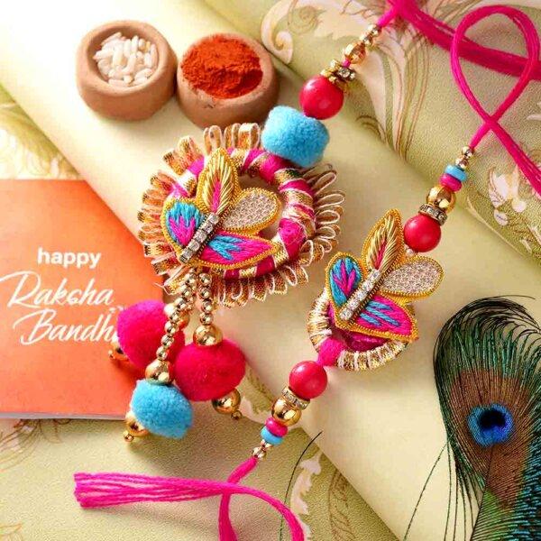 Combo of Designer Pink-Theme Bhai-Bhabhi Rakhi