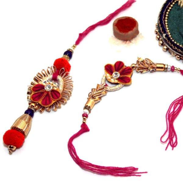 Stylish Floral Design Bhai-Bhabhi Rakhi Set