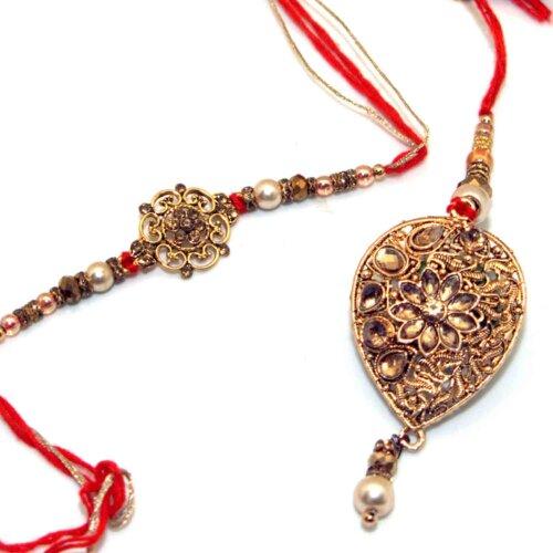 Artistic Bhai-Bhabhi Rakhi With Metallic Finish