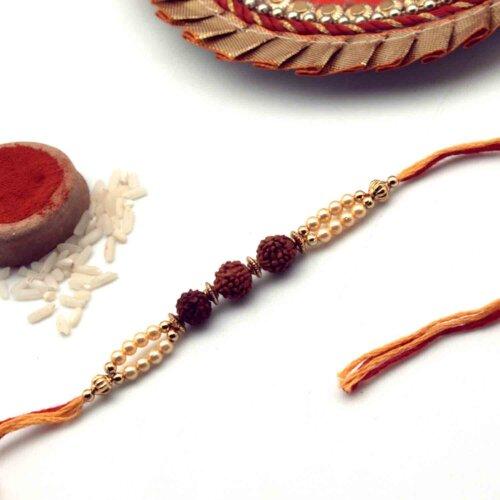Rudraksha Rakhi With Yellow Beads