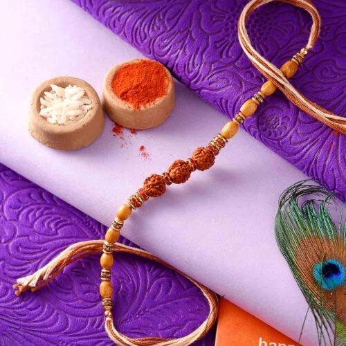 Rudraksha Rakhi With Brown Beads