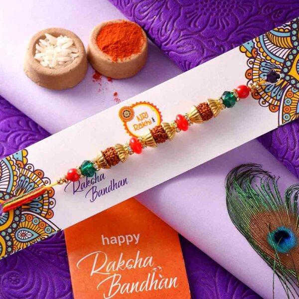 Rudraksha Rakhi In A Multi-Toned Thread
