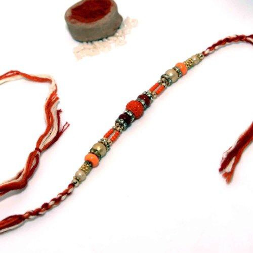 Panchmukhi Rudraksha Rakhi With Colorful Beads