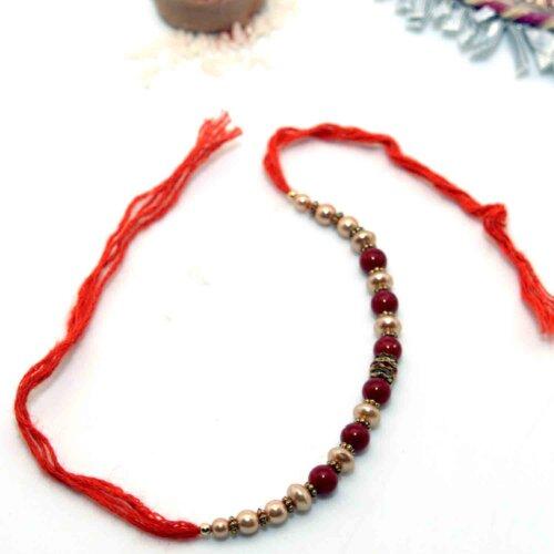 Maroon Beads Rakhi