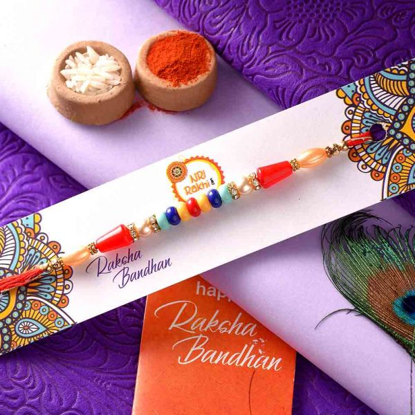 Colorful Beads Rakhi In A Dual-Toned Thread