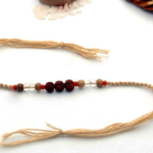 Rudraksha Rakhi With Interlaced Thread
