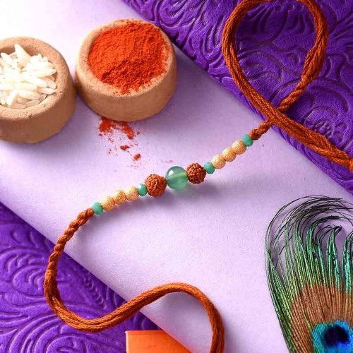 Rudraksha Rakhi With Brown Thread