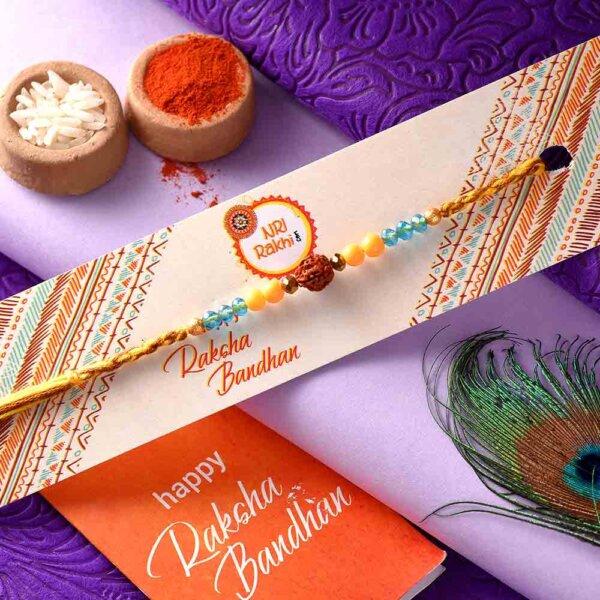 Single Rudraksha Rakhi With Dual-Toned Thread
